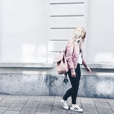 Pink bomber jacket, pink backpack, Calvin Klein tshirt, Adidas Superstar outfit / http://club-avenue.blogspot.com