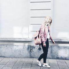 Pink bomber jacket, pink backpack, Calvin Klein tshirt, Adidas Superstar outfit / http://club-avenue.blogspot.com