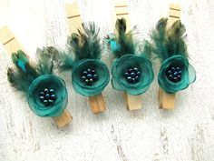 Wooden cloth pins, feather embellished clothes pegs, rustic weddding decor, floral decor, fabric flowers (set of 4pcs)- PEACOCK INSPIRED