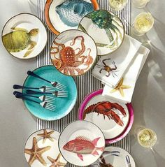 Ocean Plates Melamine Plates and Tableware on Sale at PB: http://www.completely-coastal.com/p/coastal-sale-island.html