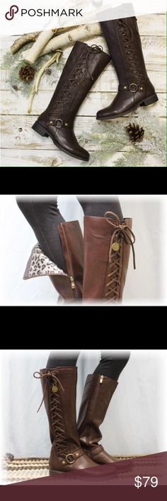 Tall brown lace up boots. Designer closeout New. Tall brown boots withe side lace up detail.  Cute buckle at ankle. Boots with leavings are all the rage this season. These are a designer closeout sale. No trades. New. Looks and feels like real leather catherine cole studio Shoes Lace Up Boots