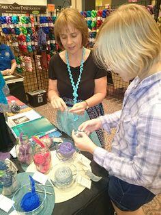 More yarn tasting at Round Table Yarns at Houston Fiber Fest (I'm on the left 😉)