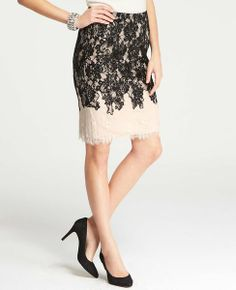 chantilly lace colorblock skirt