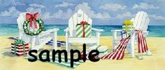 Christmas beach chairs holiday Custom Personalized Address Labels