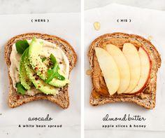 avocado  white bean spread and almond butter, apple slices  honey / love  lemons