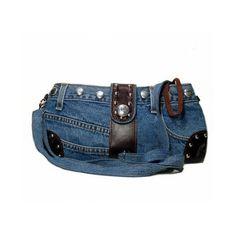 Amazon.com: Blue Denim Purse / Handbag with Studs and Leather made... by None, via Polyvore