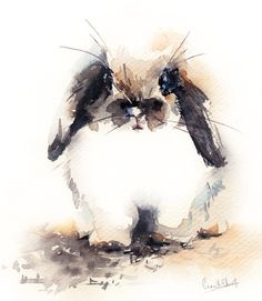 Original Watercolor Painting of Cute Bunny Rabbit by CanotStop