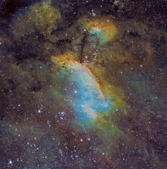Image Credit & Copyright: Michael Sidonio (http://www.pbase.com/strongmanmike2002) IC 4628 (also known as the Prawn Nebula or Gum 56) is a large, faint emission nebula of about 250 light-years across, located some 6,000 light-years away from Earth in the southern constellation of Scorpius (the Scorpion). Hot, massive stars... Continue reading: http://annesastronomynews.com/annes-image-of-the-day-the-prawn-nebula/