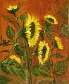 Sunflowers II    Original Floral Oil painting by halinapl on Etsy, $155.00