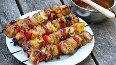 Pineapple, chicken and veggies interwoven with strips of smoky bacon and slathered with a sweet and sticky Hawaiian sauce.  These skewers are simply SINFUL!