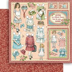 PREORDER - Graphic 45 - Penny's Paper Doll - 12 x 12 Scrapbook Paper - Sweet Sister
