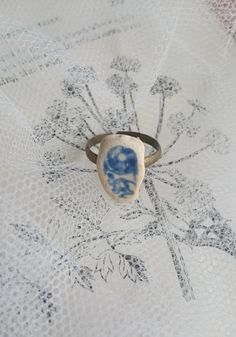 5a74d92bcd Blue and White Sea Pottery Ring Blue Sea China by AliceHalliday