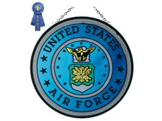 """U.S. Air Force, Stained Glass 7"""" Round by Silver Creek Industries, Inc.. $22.45. Hand-painted stained art glass.. 7 inches in diameter. Proudly made in the USA!. Ready-to-hang thanks to a pre-attached chain loop. A best seller! This stained glass round proudly displays the insignia of the United States Air Force in authentic color and detail. Measuring 7 inches in diameter, this X-size piece is zinc-framed and ready-to-hang thanks to a pre-attached chain loop ..."""