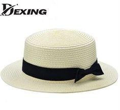 New Fashion Flat Sun Hat Women s Summer bow Straw Hats For Women Beach  Headwear 12 Colors chapeau femme Gift 6c77cfe70470