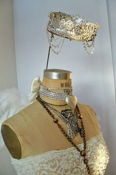 Decorated wolf mannequin with crown French by AnitaSperoDesign, $1100.00
