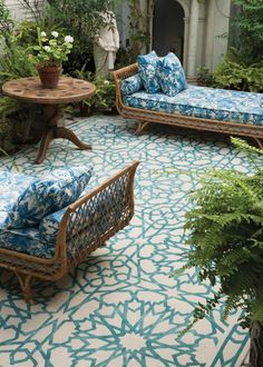 Outdoor Rugs for a cozy patio - Outdoor Rugs - Ideas of Outdoor Rugs - See how a rug can give so much style! Moroccan ambience to your patio. Mamounia sky for The Rug Company Outdoor Rooms, Outdoor Living, Outdoor Decor, Outdoor Tiles, Outdoor Carpet, Outdoor Seating, Outdoor Furniture, Furniture Ideas, Adirondack Furniture