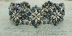 "NORTHERN STAR BRACELET   7/0 Matubo beads "" Opaque Navy Silver Picasso ""  8/0 seed beads Toho "" Frosted Antique Silver "" (566)  SuperDuo..."