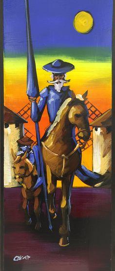 Don Quijote y Sancho al óleo sobre madera