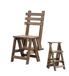 YANZHEN Foldable chair ladder Multifunction Dual-use Three-step ladder Pine wood ,Walnut color - Rattan Furniture SHOP UK Interior Furniture