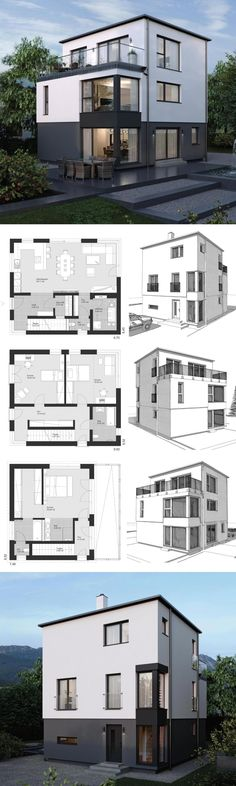 Modern Architecture Design House Plans ELK Haus 178 - Dream Home Ideas with Open Floor Layout by ELK Fertighaus - Arquitecture Contemporary European Styles House Plan and Interior with Kitchen Living Room Bathrooms Bedrooms Nursery Kids Entrance Hall - Arquitectura moderna casas planos - HausbauDirekt.de #home #house #houseplan #dreamhome #newhome #homedesign #houseideas #housegoals #construction #architecture #architect #arquitectura #hausbaudirekt