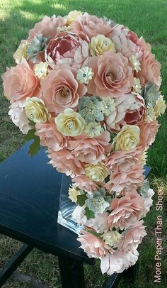 WOW!!! Paper Flower Cascading Bouquet Designed By Anna Fearer. #weddingflowers #paperbouquet