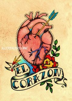el corazon love the colors, the dots, the banner, the vintage tattoo style