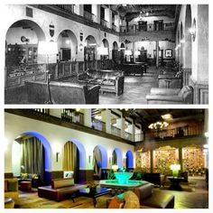 #ThrowbackThursday to 1946's Albuquerque Hilton Lobby next to 2013's Hotel Andaluz Lobby.