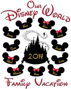 Mickey Mouse Family Vacation Disney World custom art file. This art file can be customized with your familys names! Christmas in Disney.