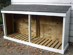 Attach to Shed for Fire Wood... Line it with metal try to keep termites at bay....
