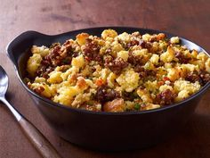 Would be good with soy chorizo! Chorizo and Cornbread Stuffing recipe from Aarón Sánchez via Food Network Chef Recipes, Food Network Recipes, Mexican Food Recipes, Cooking Recipes, Ethnic Recipes, Cooking Network, Yummy Recipes, Mexican Cooking, Yummy Food