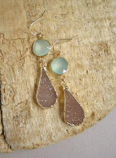 Sand Druzy Earrings Drusy Quartz Sea Green by julianneblumlo, $135.00