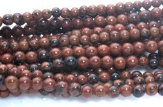 mahogany obsidian beads - coffee obsidian round beads - brown obsidian stones - natural gemstone beads - 4-14mm round beads - 15inch