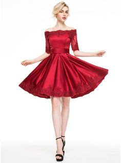 A-Line/Princess Off-the-Shoulder Knee-Length Satin Cocktail Dress With Appliques Lace (016081120) - JJsHouse