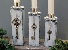 """Weihnachtsdeko - Kerzenständer Set """"Shabby-Schlüssel"""" - ein Designerstück von Deko-Idee-Eolion bei DaWanda"""