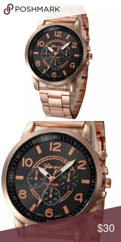 STUNNING WOMENS ROSEGOLD QUARTZ WATCH GENEVA PLATINUM ROSEGOLD QUARTZ WATCH Feature:  100% brand new and high quality.  Quantity: 1  Gender:Women  Style: Casual  Movement: Quartz  Display: Analog  Band Material: Stainless Steel  Case Material: Alloy  Dial Window Material Type: Glass  Dial Material Type: Alloy  Clasp Type: Hook Buckle  Life Waterproof  Watch case Diameter:41mm  Band Length:180mm  Thickness: 8.5mm  Band Width:12mm Geneva Platinum Accessories Watches