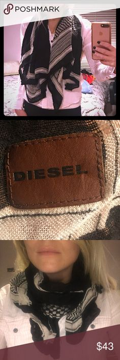 Diesel scarf Light, black & white print scarf by Diesel. Many ways to wear it. Great accent piece. Great for Fall, Spring and California Winters ☺️ Diesel Accessories Scarves & Wraps