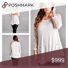 "(Plus) White lace top White lace sleeve top. 95% rayon/ 5% spandex. Very soft! Looks great with leggings and boots or jeans! Bust easily stretches well beyond measurements  1x: L: 32"" B: 40"" 2x: L: 32"" B: 42"" 3x: L: 33""  B: 44"" ⭐️This item is brand new from manufacturer without tags.  🚫NO TRADES 💲Price is firm unless bundled 💰Ask about bundle discounts Availability: 1x•2x•3x 3•1•2 Tops Tees - Long Sleeve"