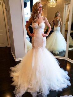 Mermaid Lace Charming Wedding Dresses,Long Wedding Dress Custom Made Wedding Gown