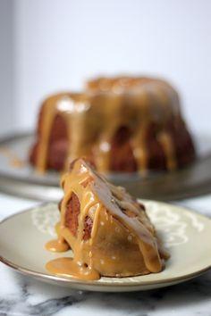 Brown Butter Apple Bundt Cake with Bourbon Butterscotch Sauce