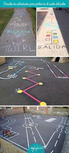 circuitos de actividades para pintar en el patio