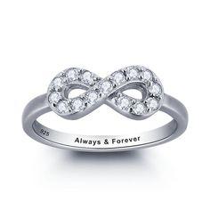 CZ Diamond Infinity Ring Engraved Diamond by 1UPStyleStore on Etsy