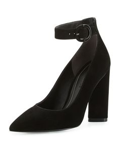 Gloria Suede Ankle-Wrap Pump, Black