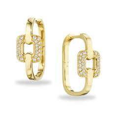 Mimi So Piece Collection ~ Gold hoop earrings have a square shape and are set with pave diamonds in 18k yellow gold