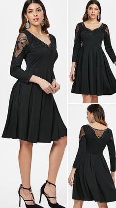 Embroidered Mesh Insert Flare Dress HOT SALES 2020, beautiful dresses, pretty dresses, holiday fashion, dresses outfits, dress, cute dresses, clothes, classy & elegant, elegant style, mode trends 2020, trending, fashion, fashion looks, moda, women, beautiful, beauty, buy, sale, shop, shopping, vestidos elegantes, vestidos fofos, vestidos bonitos Outfits Dress, Casual Dresses, Fashion Dresses, Pretty Dresses, Beautiful Dresses, Types Of Dresses, Fashion Looks, Fashion Fashion, Holiday Fashion