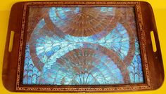 """BUTTERFLY WINGS under glass, inlaid WOOD FRAMED SERVING TRAY Brought back from a BRAZIL trip back in the 1950's, beautiful tray measures 13-1/2"""" x 20"""" 90. dollars"""