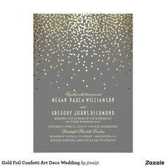 Gold Foil Confetti Art Deco Wedding 5x7 Paper Invitation Card