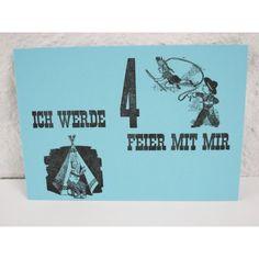 """Letterpress Einladung zum Geburtstag, türkis, pink, grau, """"ich werde 4 feier mit mir"""" handanzug Holzlettern"""