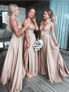 A Line V Neck Backless Champagne Long Bridesmaid Dresses Under 100