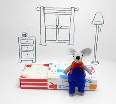 Felt animal miniature mouse blue orange by atelierpompadour