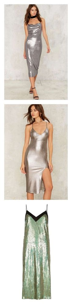 """Slip dress"" by keiory ❤ liked on Polyvore featuring dresses, silver, bodycon cocktail dress, bodycon party dresses, midi cocktail dress, cocktail party dress, midi dress, genuine leather dress, silver metallic dresses and structured midi dress"
